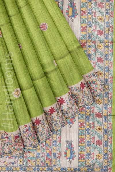 Green Saree with Madhubani Prints Bengai Silk Saree