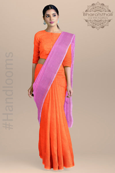 Half and Half Plain Orange and Pink Color Pure Cotton Saree