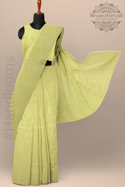 Plain Soft Green Color Pure Cotton Saree