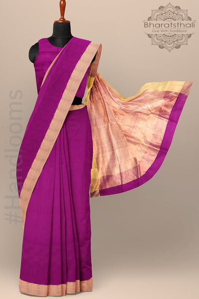 Purple Color Chanderi Saree with Golden Zari Border and pallu