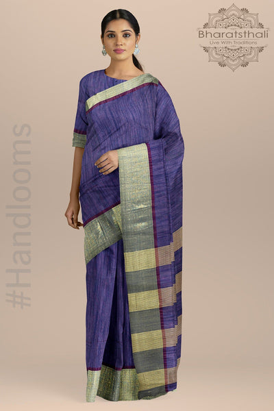 Blue Color Pure Cotton Saree with golden Zari Border and Zari Pallu