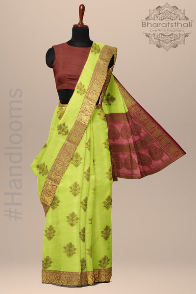 Parrot Green and Pink Banarasi Silk
