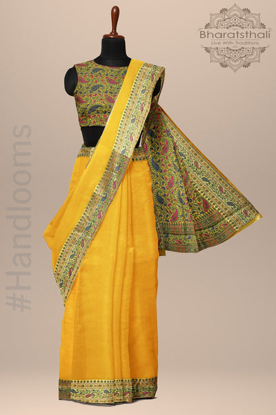 Mustard Yellow with Multicolor Border Banarasee Woven Silk Saree