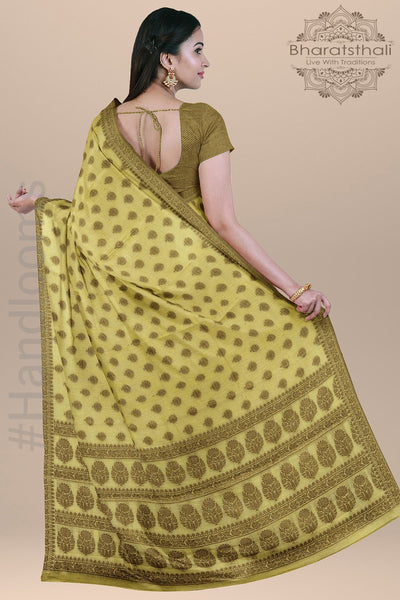 Yellow Color Cotton Silk Saree with Golden Zari Booties and pallu