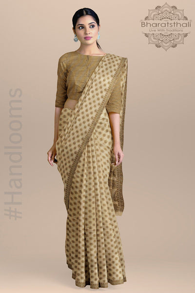 Peach Color Cotton Silk Saree with Small Golden Booties and Zari Pallu