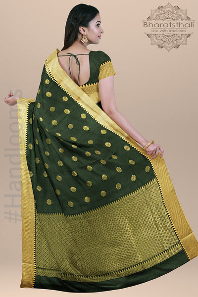 Dark Green Color Silk Saree with all over Zari Booty and Heavy Pallu