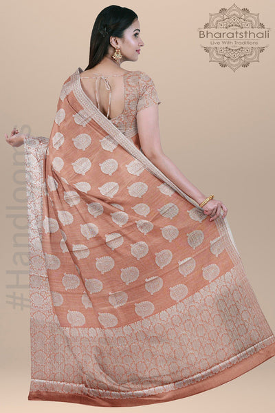 Peach Color Cotton Silk  with all over Big Thread Border and pallu