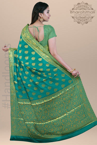Turquoise Color Silk Saree with all over Zari and Heavy pallu