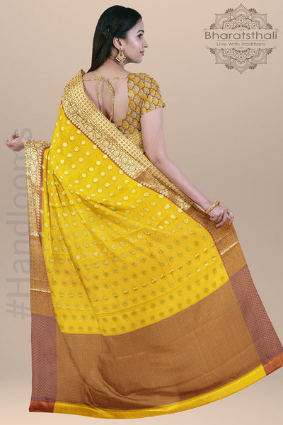 Yellow and Pink Color Silk Saree with all over Heavy Zari pallu