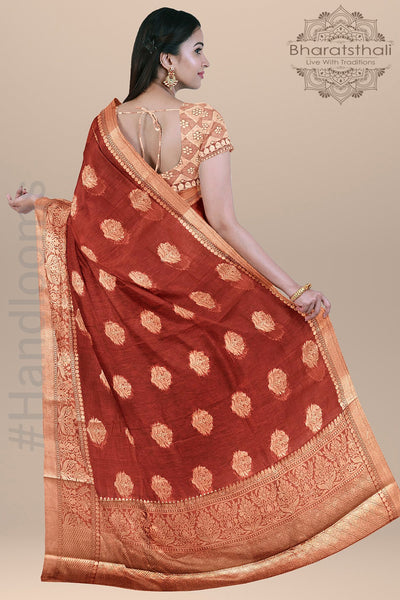 Reddish Maroon Banarasi Linen Silk Saree with Silver Booties, Border and pallu