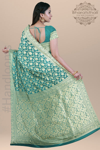 Sea Green Color  Banarasi Patola Silk Saree with Heavy pallu