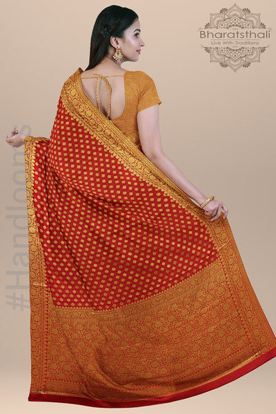 Dual Shade Red and Orange Silk Saree with all over Zari Booty, Small Border and Heavy Golden pallu