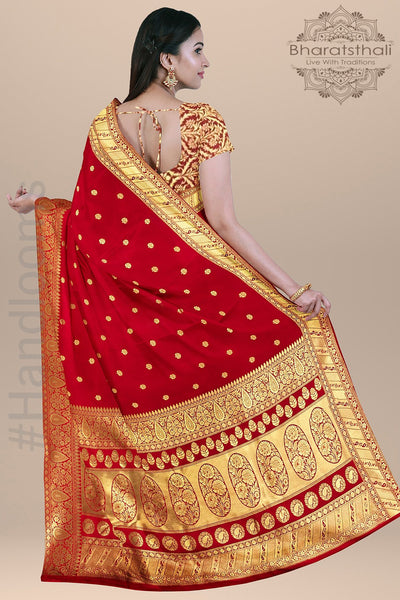 Candy Apple Red  Color with all over Small Tree Booties,Border and Heavy pallu