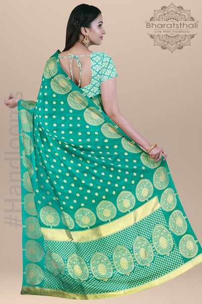 Sea Green Color with  Small Round  Zari  Booties and Heavy pallu