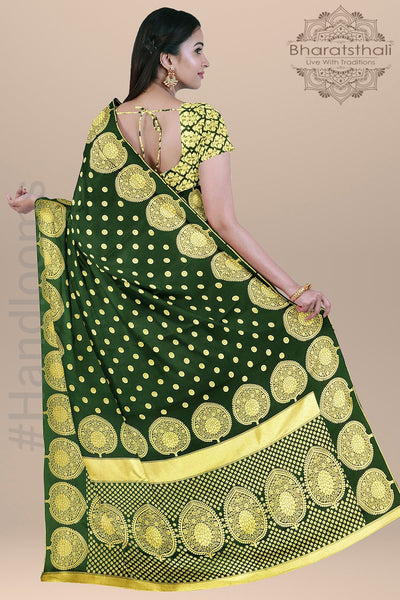 Leaf Green Color with Small Round Zari Booties and Heavy pallu