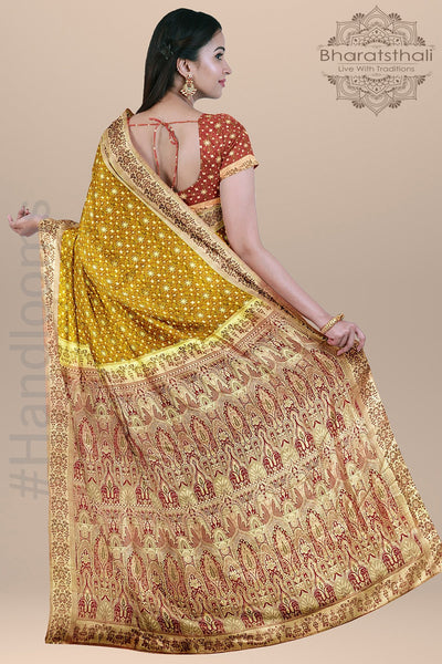 Mustard Color Pure Banarasi Tanchoi Silk Saree with Contrast Border and pallu