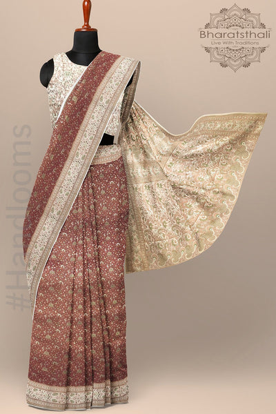 Brown Maroon Color Pure Banarasi Tanchoi Silk Saree with Contrast Border and pallu