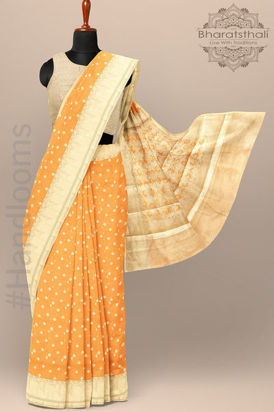Orange and Golden Color  Banarasi Tissue Saree with all over Golden Small Booties and Heavy pallu