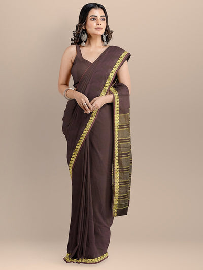 Brown Color Cotton Silk Woven Design Banarasi Saree