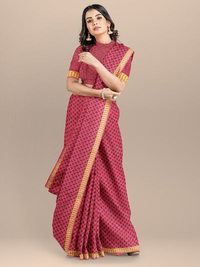 Pink Color Printed Saree with Golden Zari Border