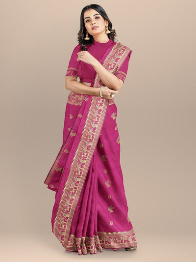 Pink Color Figure Booties  Baluchari Saree