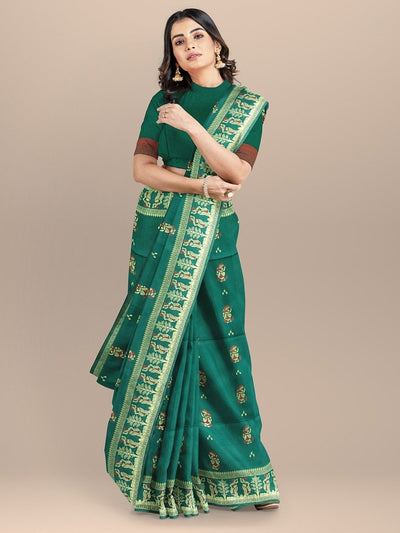 Green Color Baluchari Bengali Woven Silk Saree