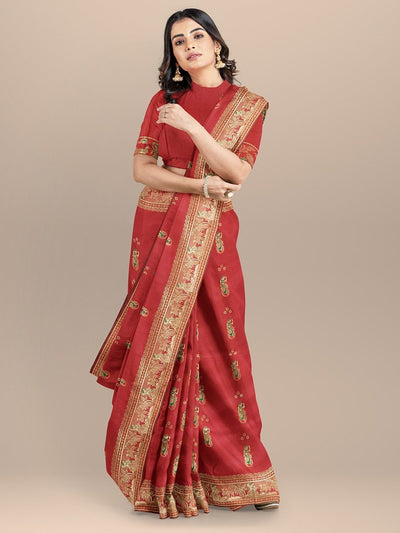 Red Color Baluchari Bengali Woven Silk Saree