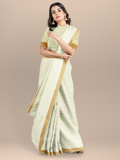 Cream Color Pure Cotton Handloom Saree
