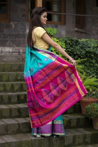Blue And Turqouise Pure Handloom Saree With Golden Zari Work