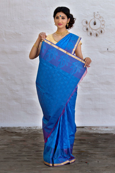 Sapphire Blue Art Silk Saree With Magenta Pink Pallu