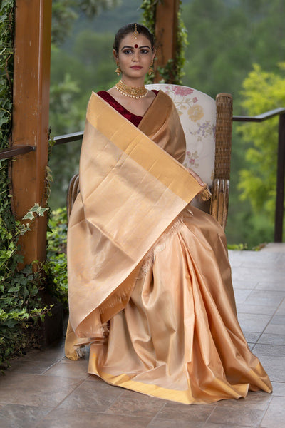 Ivory Cream With Golden Zari Work Soft Silk Saree