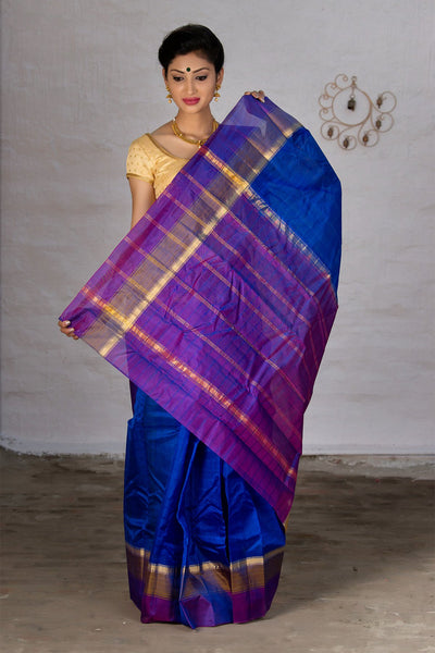 Admiral Blue And Magenta Pure Kanjivaram Silk Handloom Saree