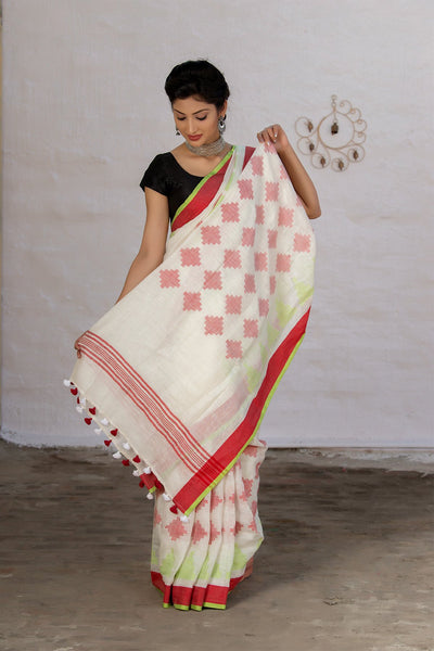White And Red Pure Linen Saree