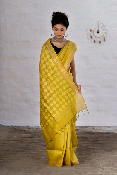 Yellow Silk Linen Handloom Jamdani Saree