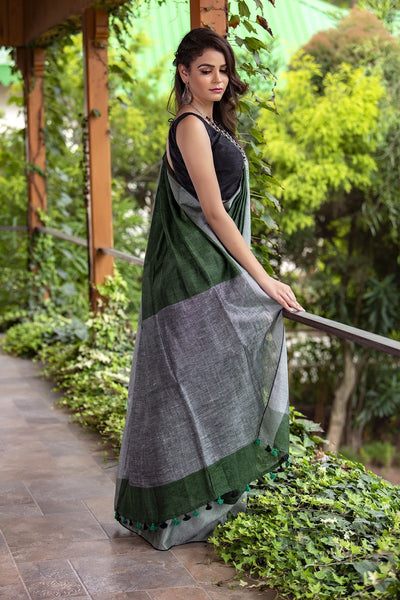 Green And Grey Pure Linen Saree With Motifs