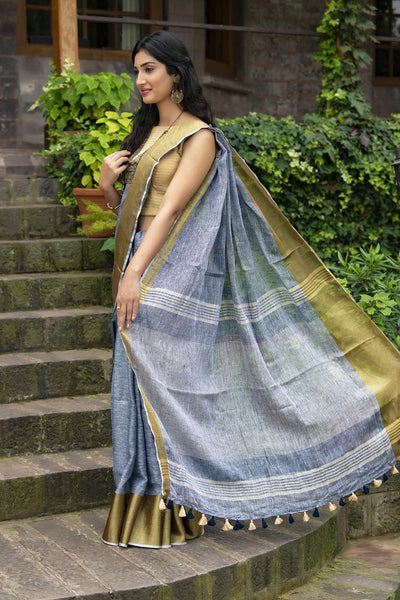 Grey Pure Linen Saree With Golden Zari Work