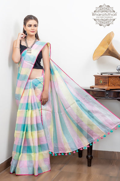 Multicolour Pink Blue Yellow With Silver Border Pure Linen Saree
