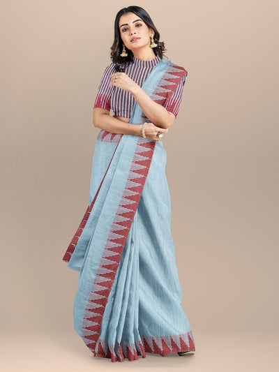 Blue Color Linen Cotton Saree with Temple Border