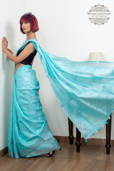 Turquoise Blue With Zari And Booti Pure linen Saree