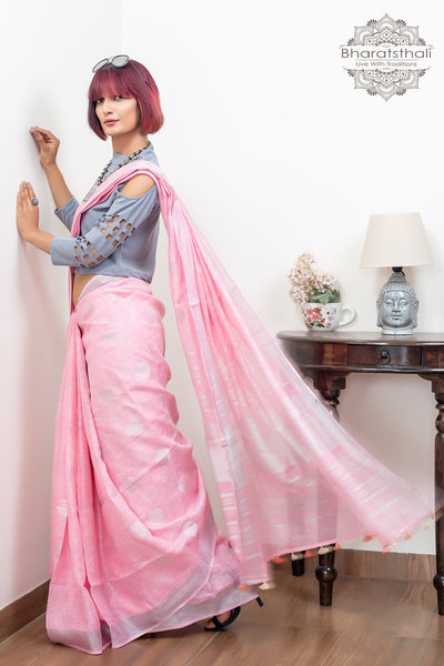 Light Pink With Booti and Silver Border Pure Line Saree