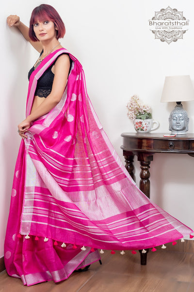 Magenta Pink With Booti And Silver Border Pure Linen Saree
