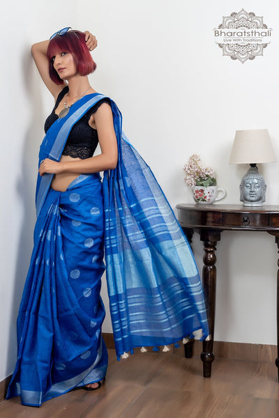 Blue With Silver Border And Booti Pure Linen Saree