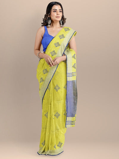 Yellow Color Pure Linen Embroidered Saree