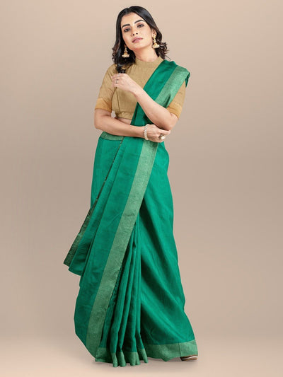 GreenColor Pure Raw Silk Printed Saree with Golden Zari Border