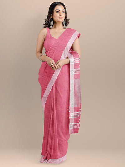 Pink Color Linen Cotton Woven Design Bhagalpuri Handloom Saree