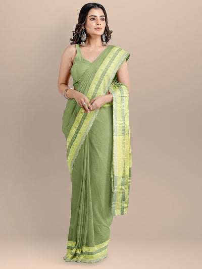Olive Color Pure Cotton Solid Maheshwari Handloom Saree