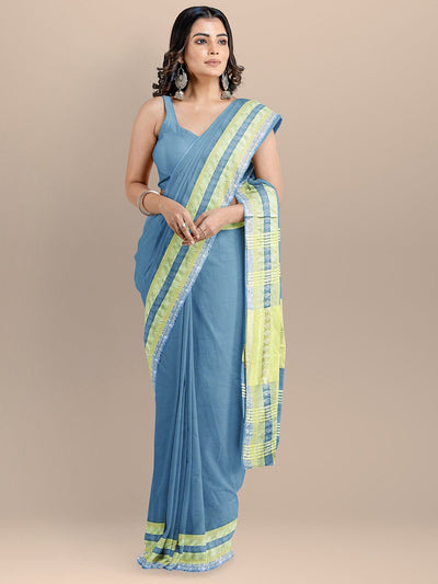 Blue Color Pure Cotton Solid Maheshwari Handloom Saree