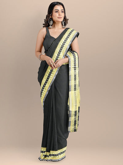 Black Color Pure Cotton Solid Maheshwari Handloom Saree