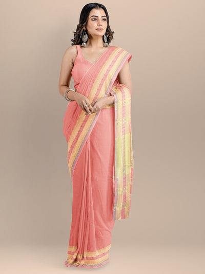 Peach Color Pure Cotton Solid Maheshwari Handloom Saree