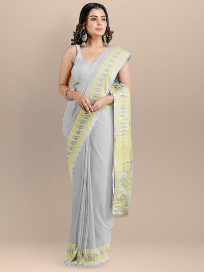 Grey Color Pure Cotton Solid Maheshwari Handloom Saree